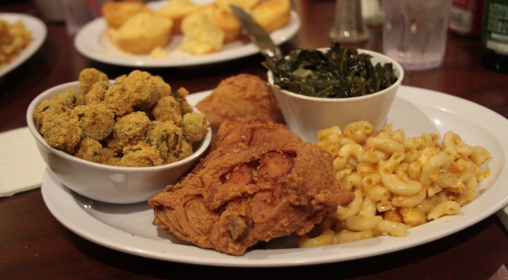 Traditional Soul Food consist of fried chicken, mac n cheese, collard, breaded fried okra and cornbread
